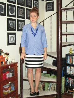 blue necklace, chambray shirt, black and white striped skirt, black ballet flats