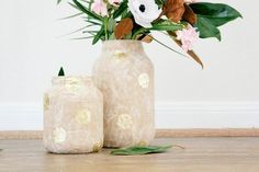 DIY Home Decor Crafts :DIY Vase : DIY Gold Polka-Dotted Paper Mache Glass Jars