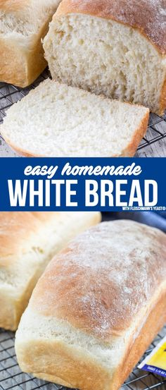 This EASY Homemade White Bread recipe is made from scratch. It makes two loaves … This EASY Homemade White Bread recipe is made from scratch. It makes two loaves and is the perfect sandwich bread! Making homemade bread is easier than you think. Easy White Bread Recipe, Homemade White Bread, Best Bread Recipe, Homemade Breads, Homemade Bread Easy Quick, Recipe For Making Bread, Light Airy Bread Recipe, Easy Bread Loaf Recipe, Plain Bread Recipe