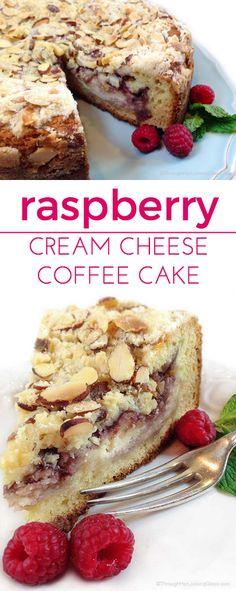 Raspberry Cream Cheese Coffee Cake: Almond cake, cream cheese filling, raspberry preserves and toasted almond crumb topping. Heaven!