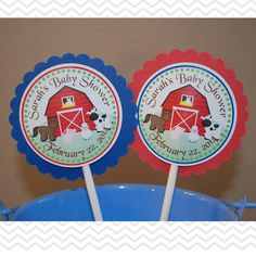 Barn Yard Farm Animals Red  Cupcake Toppers  Set by sharenmoments