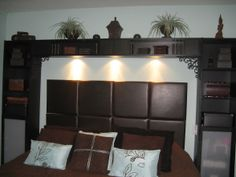 so-called teal (very light) walls brown shelves