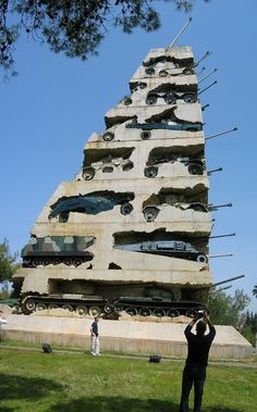 """Lebanon. The monument """"Hope for peace"""" erected in Beirut in 1995 and has 30 meters tall and weighs 4,000 tons, the tanks embedded in the concrete had become a symbol of the fact that Lebanon has left the war behind, unfortunately the hope was not..."""