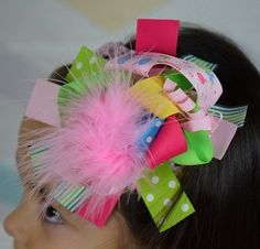 Candy Land 6in Marabou Boutique Bow-free shipping