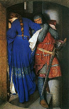 Pre Raphaelite Art: Meeting on the Turret Stairs, water color by Frederick William Burton. This is one of my favorite works of art. The painting itself is beautiful.then if you find out the backstory looking at it brings a tear to my eye Romantic Paintings, Beautiful Paintings, Frederick William, Frederick Leighton, Art Plastique, Art Reproductions, Oeuvre D'art, Art History