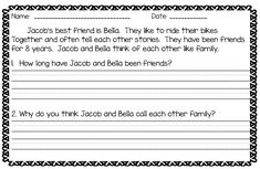 Help first grade students learn to restate the question in their answers through short texts and simple sentences.