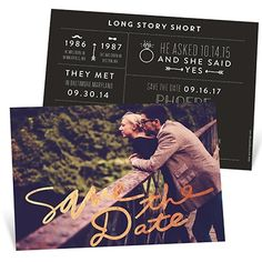 "Say it like you mean it! ""Save The Date"" in big bold foil script fills the front of these save the date cards, getting your request all the attention it deserves."