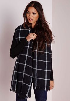 Oversize Grid Print Blanket Wrap Black - Accessories - Hats, Scarves & Gloves - Missguided
