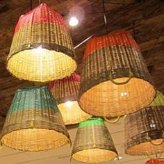 repurposed items and create an interesting lamp or light fixture