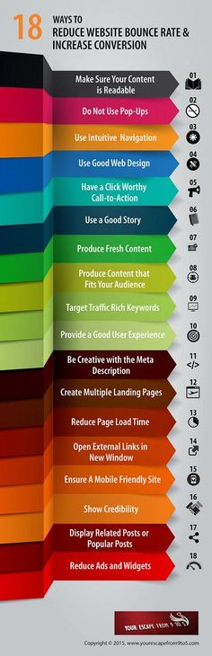 18 Ways to Reduce Website Bounce Rate and Increase Conversion Infographic https://www.flickr.com/photos/132257561@N05/19915592190/in/pool-16135094@N00