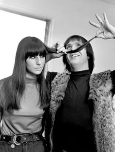 Even at 19, Cher (here with then-husband Sonny Bono) already had a signature look. Although long straight hair with a full bang was really popular in the '60s, she knew how to make it her own.  - GoodHousekeeping.com