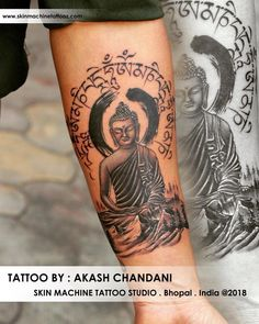 Customised Buddha I designed for a client who love to travel with peace ❤️  Thanks for looking   Tattoo by Akash Chandani  Email for appointments: skinmachineteam@gmail.com www.skinmachinetattooz.com