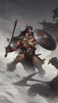 m Barbarian Cloak Helm Shield Spear Conan Fantasy Warrior, Fantasy Rpg, Medieval Fantasy, Dark Fantasy Art, Fantasy Artwork, Vikings, Character Portraits, Character Art, Comic Books Art