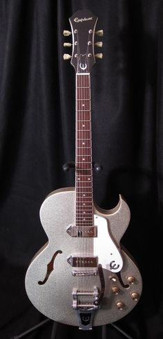 1997 Epiphone Sorrento Silver Sparkle Bigsby P90 Archtop Guitar
