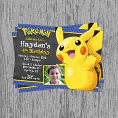 Pokemon Pikachu Custom Birthday Invitation By LastingMomentsDesign 800 9th Parties Peacock Party