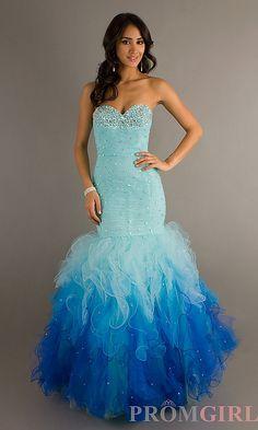 Ruching, Beading, Ruffled Skirt, Ombre, Strapless Sweetheart dress in blues