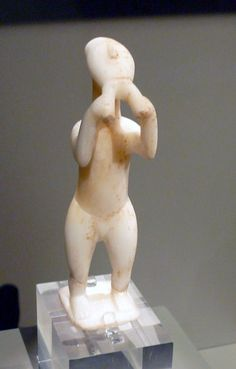 A marble figurine from the Cycladic islands, 2800-2300 BCE, depicting a flute or aulos player. It is one of the earliest representations of a musician in sculpture from the Bronze Age Aegean. (National Archaeological Museum, Athens).