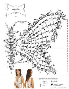 Diy Crochet Top, Crochet Bra, Crochet Diagram, Crochet Basics, Crochet Stitches, Gilet Crochet, Crochet Pants, Crochet Blouse, Crochet Clothes