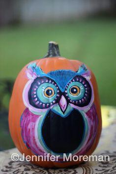 Owl Painted Pumpkins My Artwork Pinterest Painted