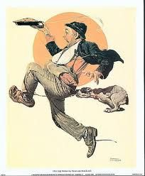 Fleeing Hobo by Norman Rockwell Copyright © 1928 Saturday Evening Post & Curtis Publishing Company Norman Rockwell Prints, Norman Rockwell Paintings, Illustrations, Illustration Art, Jorge Guzman, The Saturdays, Saturday Evening Post, Artist Gallery, American Artists
