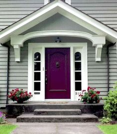 Front Door Paint Colors - Want a quick makeover? Paint your front door a different color. Here a pretty front door color ideas to improve your home's curb appeal and add more style! Purple Front Doors, Unique Front Doors, Best Front Doors, Front Door Paint Colors, Painted Front Doors, Red Doors, Purple Home, Purple Grey, Burgundy Colour