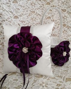 Deep Purple Bling Flower Girl Basket and Ring Bearer Pillow Set, Dark Plum Purple & White Bling Flower Girl and Ring Bearer Pillow