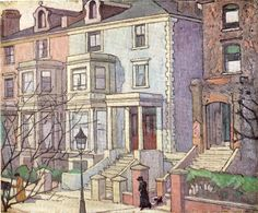 Robert Bevan. Houses in Sunlight. 1915. This is a view from the artist's house in Adamson Road near Swiss Cottage.