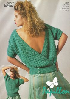 Instant Download  PDF Vintage Crossover by CharliegirlCrafts4U Vintage Knitting, Vintage Crochet, Crochet Top, Deborah Foreman, Crossover, Knitting Patterns, Vogue, Glamour, Lady
