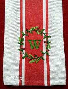 Monogrammed kitchen towel. Red striped cotton towel embroidered with berry and vine monogram. NellyBelle designs