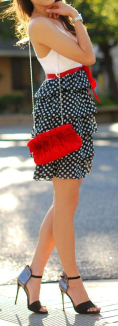 Red, White & Blue Polka + Glitter Heels ღ Perfect 4th July Outfit! Those shoes tho!!!