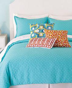 CLOSEOUT! Trina Turk Santorini Turquoise Matelasse Comforter and Duvet Cover Sets