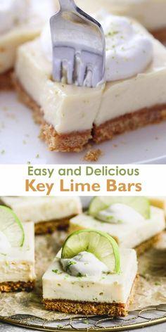 Key Lime Desserts, Easy Desserts, Dessert Recipes, Easy Delicious Desserts, Easy Dessert Bars, Key Lime Pie Bars, Key Lime Icebox Cake, Key Lime Squares, Key Lime Filling