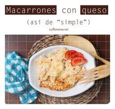 Macarrones con queso, y con truquillo... #recetas #pasta #macarrones #queso http://www.cuidemonos.net/2014/05/macarrones-con-queso-y-con-truquillo.html