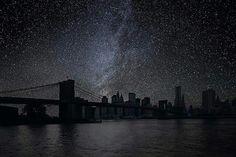 Brooklyn Bridge darkened night skies