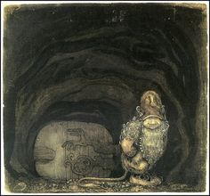 'When Mother Troll Took in the King's Washing - John Bauer' Metal Print by forgottenbeauty John Bauer, Fantasy Illustration, Illustration Artists, Dark Fantasy, Fantasy Art, Fairytale Art, Elsa Beskow, Faeries, Fairy Tales