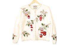 Ornaments Tacky Ugly Christmas Sweater / Cardigan Women's Size Medium (M) $22