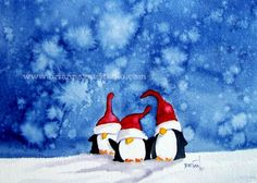 A Friendly trio of penguins are waiting for you to welcome them into your home. Watercolor Christmas Cards, Watercolor Cards, Watercolor Paintings, Penguin Watercolor, Christmas Paintings, Christmas Art, Christmas Decorations, Painted Christmas Cards, Handmade Christmas