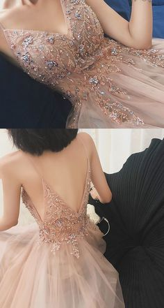 Illusion Prom Dresses Tulle Spaghetti Straps A-line Formal Gowns Winter Formal Dresses, Formal Gowns, Dress Formal, Sexy Evening Dress, Evening Dresses, Boho Wedding Dress Backless, Beaded Prom Dress, Dress Prom, Dress Long