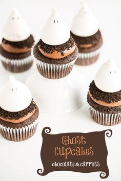 Divertidos y deliciosos cupcakes fantasmas #halloween. Seguro que son un visto y no visto