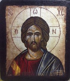 "Handmade Byzantine icon ""Jesus Christ"" (silver background)"