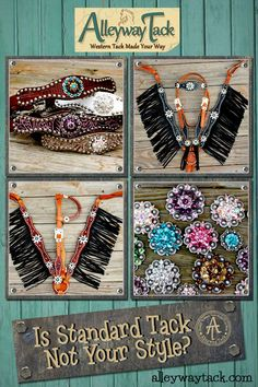If Standard Western Tack is not your style! Check out Alleyway Tack. Alleyway Tack creates stylish & quality Western Horse Tack to get you noticed in and out of the arena. We offer options to create your own tack with the color combinations you want or ready-made products in inventory....... Back 2 School Sale now going on: 10% OFF & Free Shipping on all Wither Straps & TieDowns..... Promo Code: BACK2SALE .... Hurry! Sale ends 8/16/2015