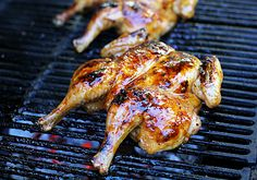 The Galley Gourmet: Grilled Butterflied Brown Sugar Chicken. butterfly the chicken. precook the bbq sauce made out of oil, pepper, lemon juice, apricot jam, dijon mustard and paprika. Grilled Whole Chicken, Stuffed Whole Chicken, Bbq Chicken, Lime Chicken, Grilling Recipes, Cooking Recipes, Healthy Recipes, Smoker Recipes, Easy Cooking