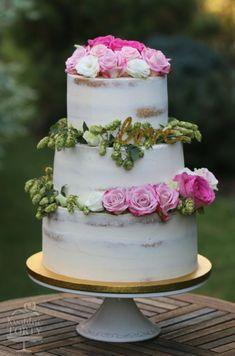 naked wedding cake : by Lucya - http://cakesdecor.com/cakes/301813-naked-wedding-cake