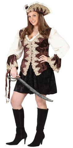 Pirate Lady Plus Size Costume - Wear this for Halloween, a costume party, and with other pirates. This is a plus size Royal Lady Pirate Costume. This is a two-piece costume with a dress and hat. The dress has a v-neck with ruffle trim. The dress opens up from the back of the neck and fastens close with Velcro. The sleeves are elasticized at the cuffs and flare out. The bodice is crushed velveteen with an embroidered design down the front. The skirt is short and flared.