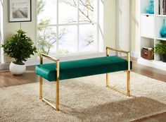 -MERIDIAN FURNITURE-   Accentuate your room with this Olivia Velvet Bench.  The lush Green upholstery in conjunction with the Gold stainless steel are a perfect combination to be the highlight the room.  Available in Green, Peach and Navy.
