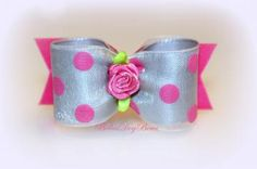 Pink & Grey Dog Bow with Dots and Flower by BellasDogBows for $9.99