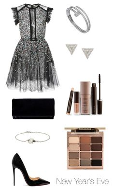 """🎉🎊🎉🎊"" by gigi3646 ❤ liked on Polyvore featuring Elie Saab, Christian Louboutin, Cartier, Lizzie Mandler, Stila and Laura Mercier"