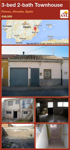 Townhouse for Sale in Pinoso, Alicante, Spain with 3 bedrooms, 2 bathrooms - A Spanish Life Murcia, Valencia, Portugal, Alicante Spain, Laundry Room, Townhouse, Garage Doors, Patio, Bathroom