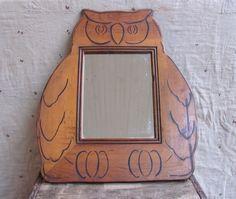 Vintage 1970s owl mirror wood handmade folk art.