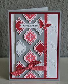mosaic madness birthday card in primrose petals, raspberry ripple and smokey slate
